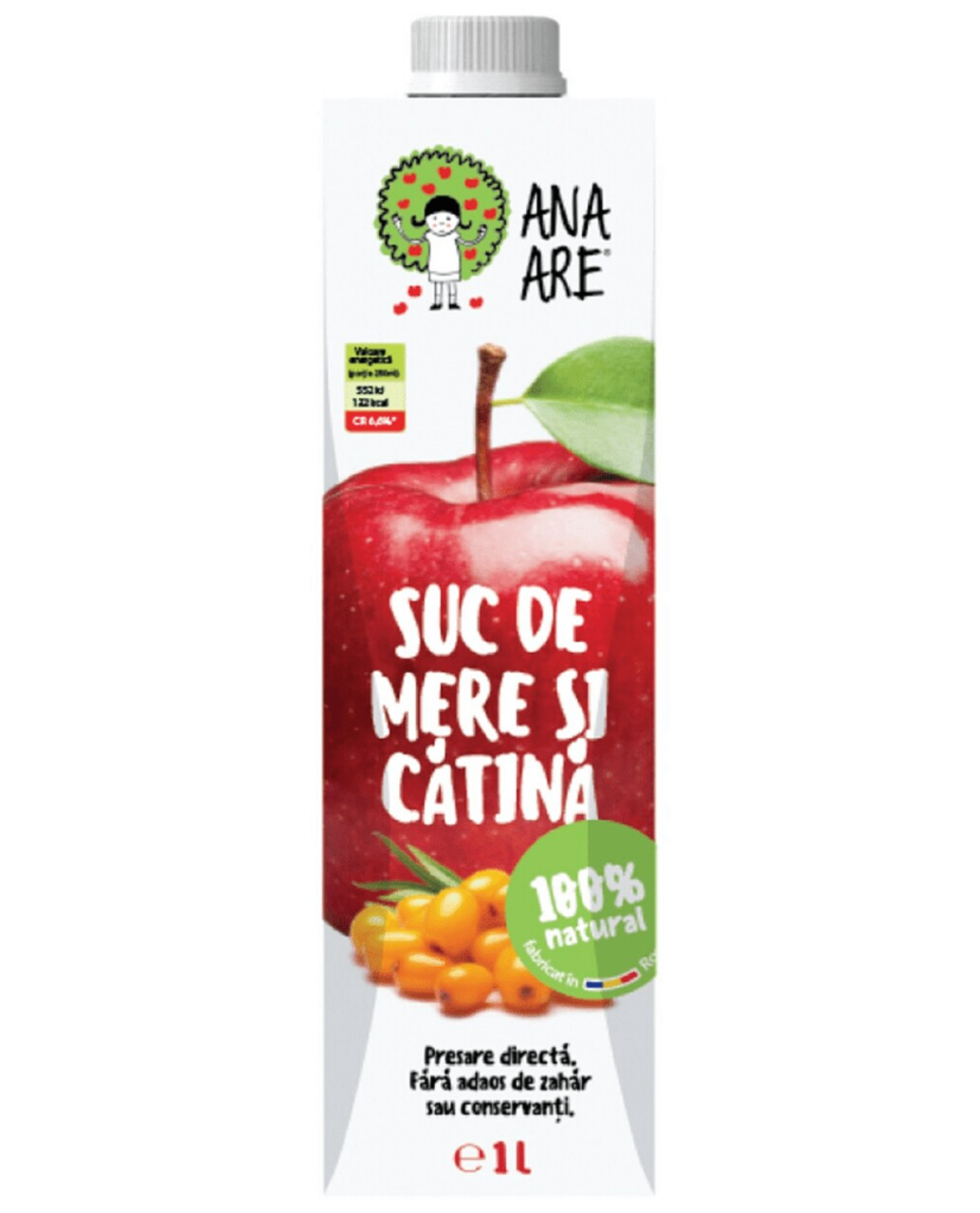 Suc de Mere & Catina 100% Natural Ana Are 12X 1L