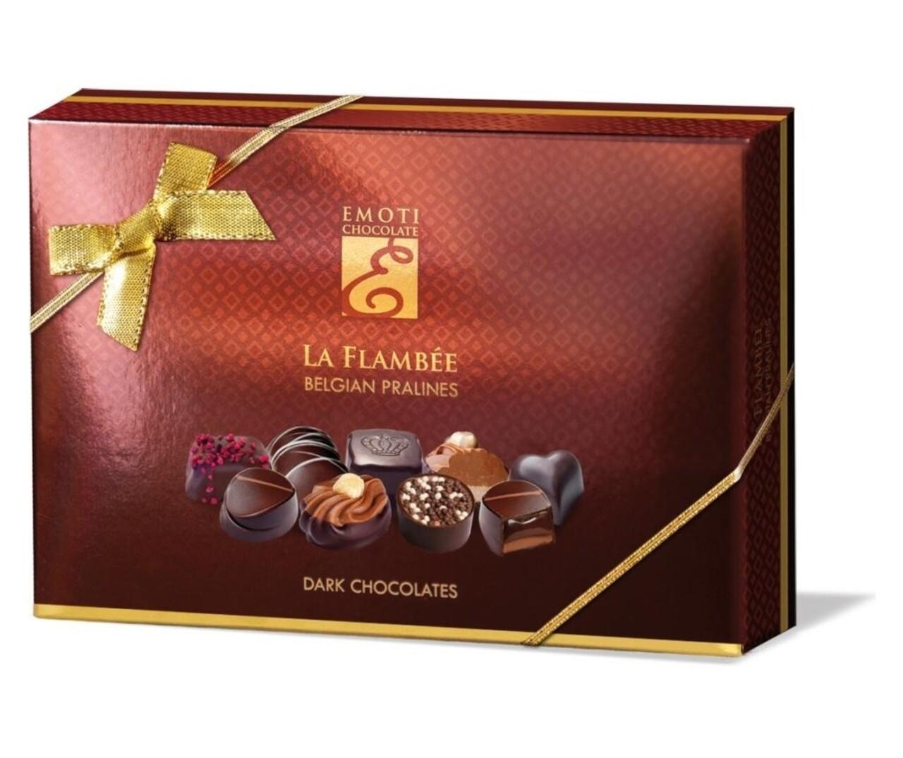 Praline Asortate Din Ciocolata Neagra La Flambee, Emoti, 120G, Belgia