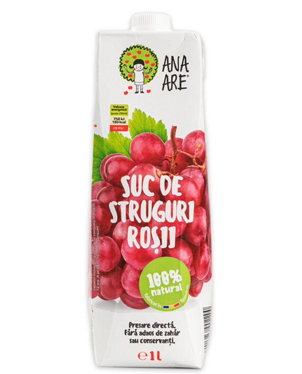 Suc de Struguri Rosii 100% Natural Ana Are 12X 1L